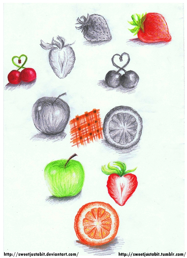 Fruits -Colored and Pencil- by SweetJustABit