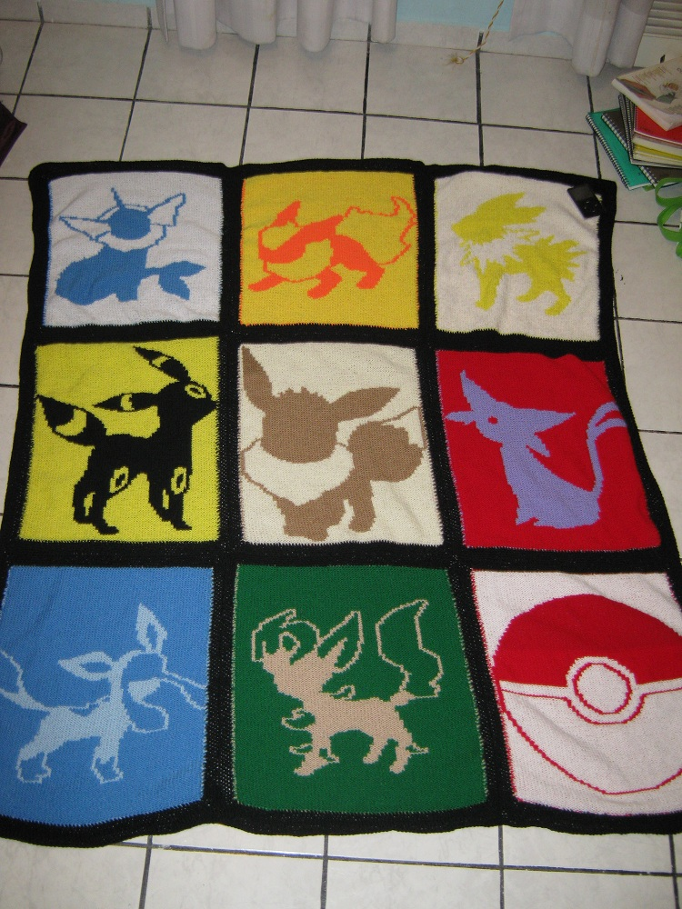 Eeveelution Knitted Quilt by AnOwlatNoon
