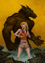 Werewolf and woman