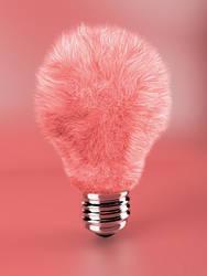 Pink fluffy lamp bulb