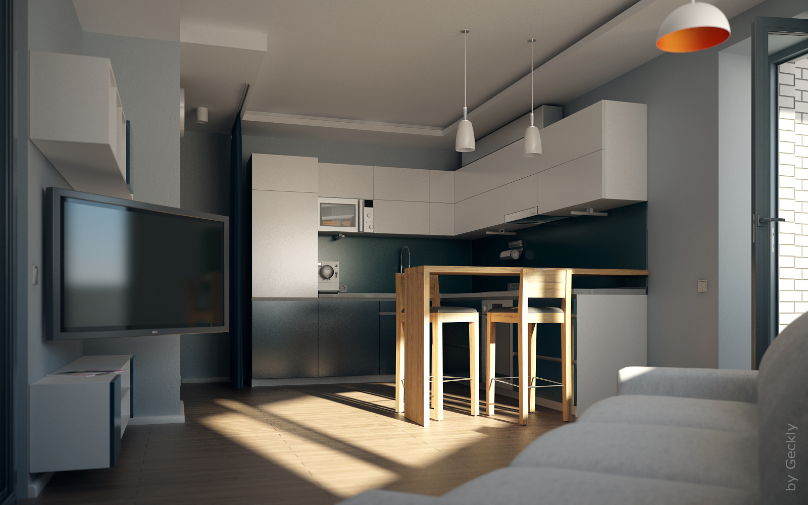 Small flat 001 by geckly on deviantart for Flat interior images