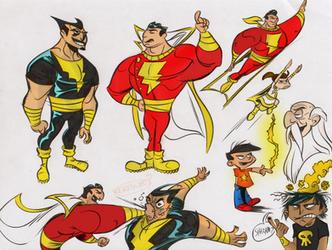 Shazam, Black Adam, Mary Marvel Colors by jakekless