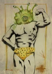 Macho Man with Watercolor Head #1
