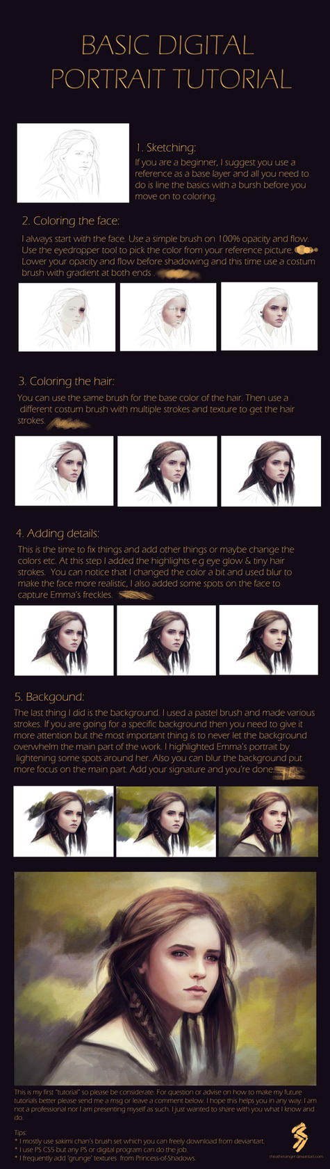 Digital Portrait Tutorial by Rheatheranger