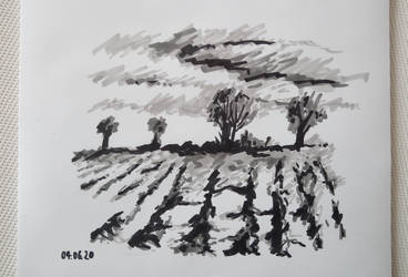 landscape in markers