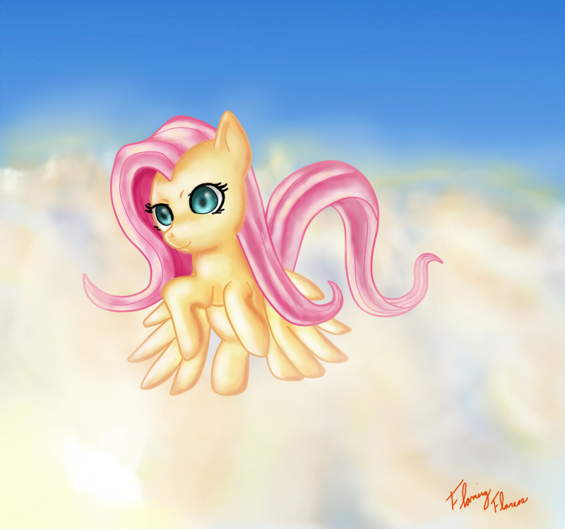 Fluttershy flying by Miokomata on DeviantArt