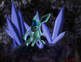 Glaceon guarding crystals