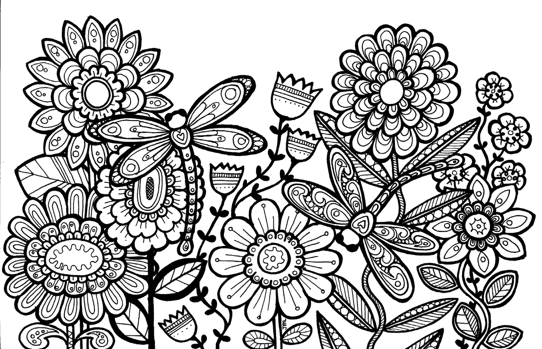 flowers and dragonflies coloring pages | MonaLisaSmile23 (Joelyn) - DeviantArt