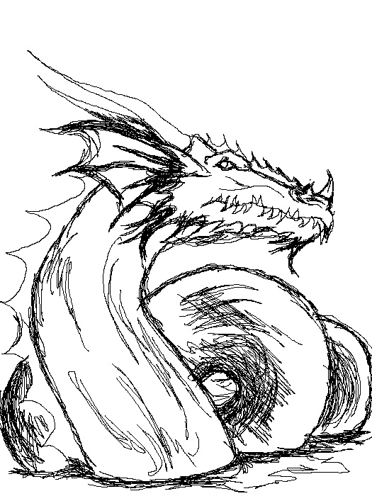 Line Drawing Dragon : Dragon line art v by vengefulnight on deviantart