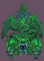 Cerberus and Echidna shirt by missmonster