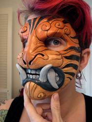Striped demon mask by missmonster
