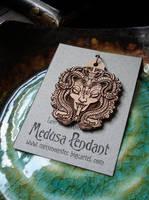 Medusa etched wood pendant by missmonster
