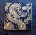 Gold tentacle painting