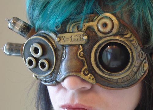 X-131 Steampunk biomech goggle by missmonster