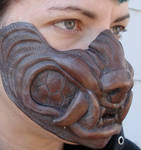 Cold cast copper werewolf mask
