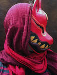 Kitsune mask painted
