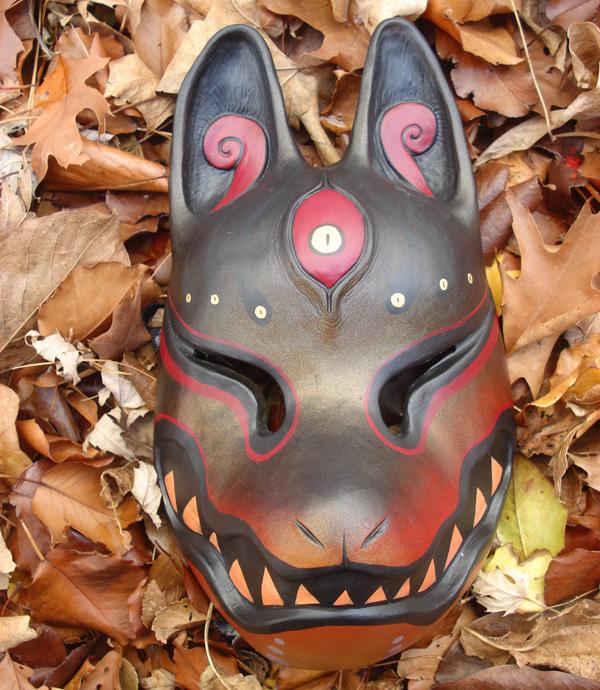 painted kitsune mask black gold by missmonster
