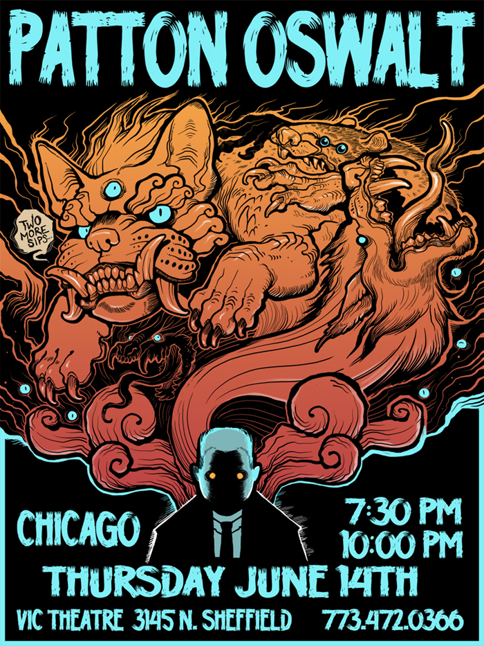Patton Oswalt gig poster by missmonster
