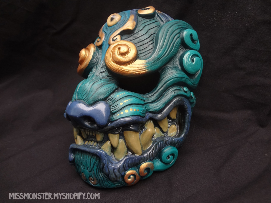 Green Komainu mask by missmonster
