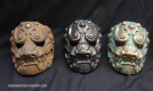 Old Metal Komainu masks