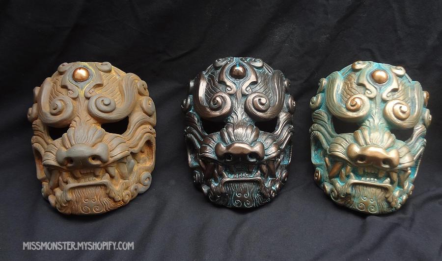 Old Metal Komainu masks by missmonster