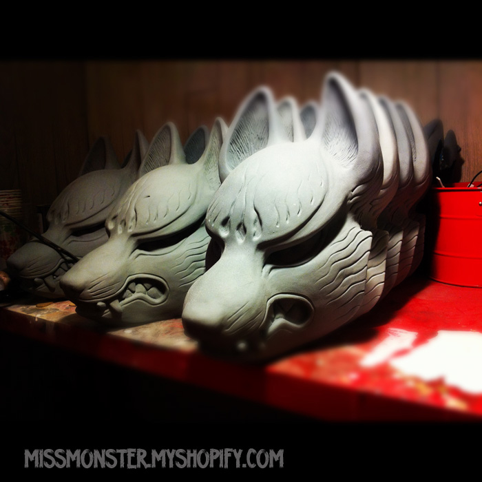 Kitsune mask production by missmonster