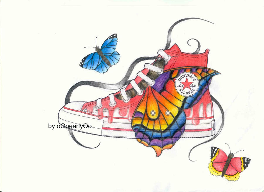 Converse Butterfly Shoe by oOpearlyOo on DeviantArt