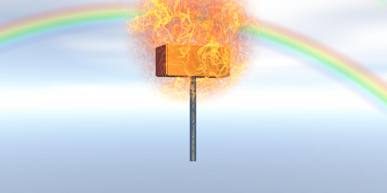 Poorly Rendered Flaming Ban Hammer of DOOM! by JennChant