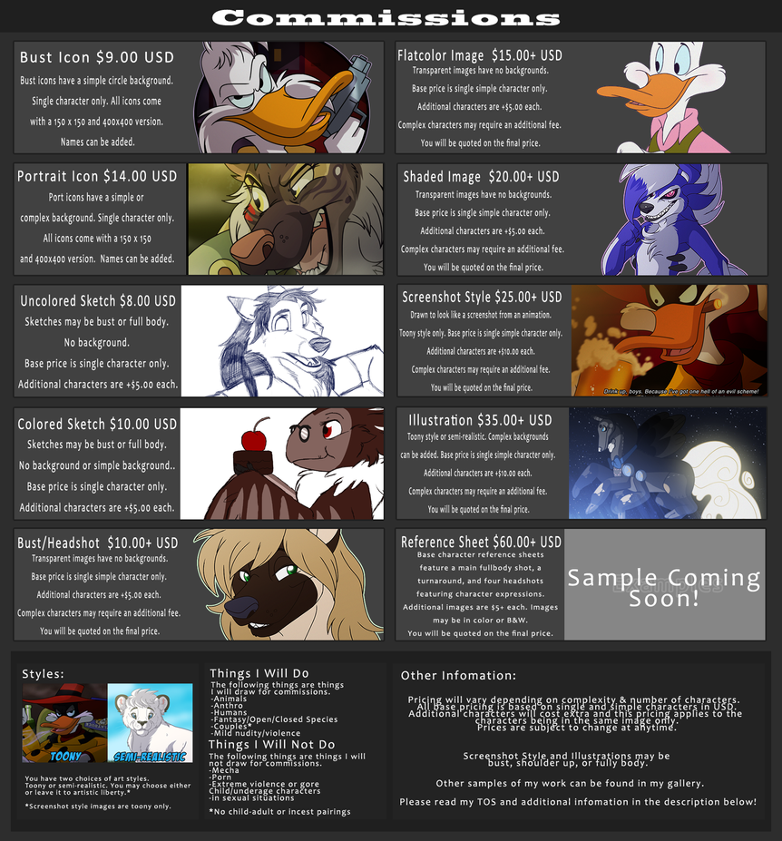Commission Price List(UPDATED 2017)-Open by Goku-san