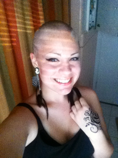 girls shaved completely bald