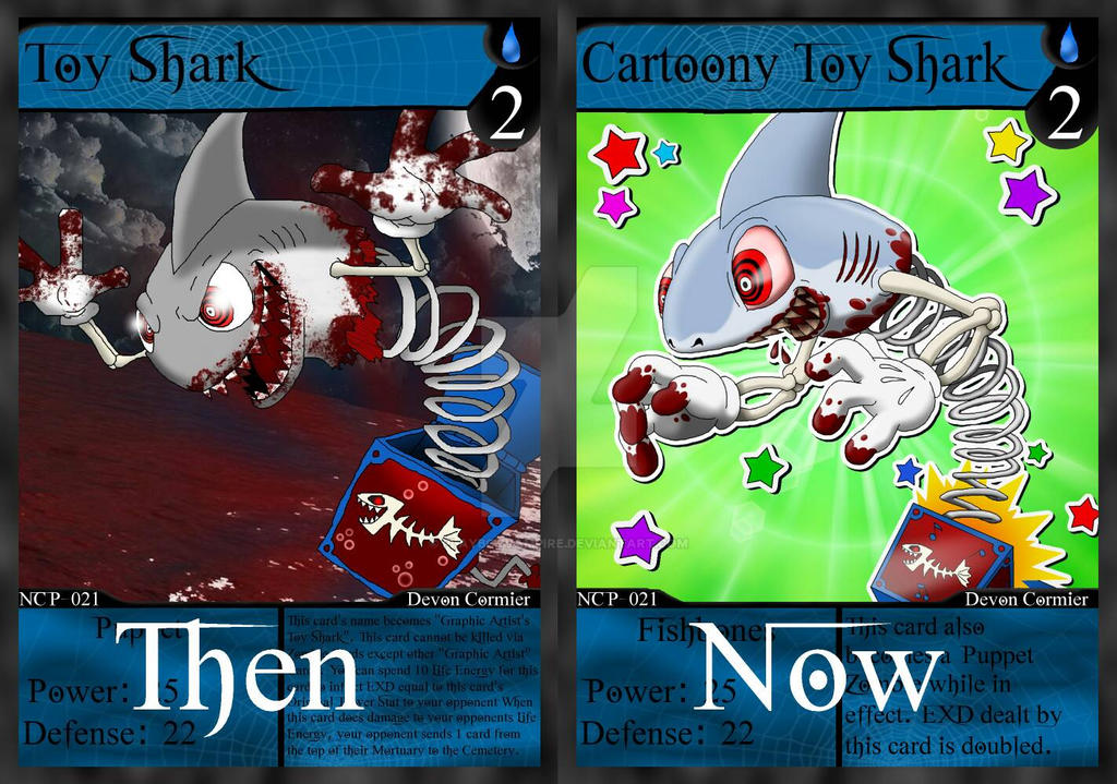 NecroMasters - Cartoony Toy Shark - Then vs. Now by PlayboyVampire