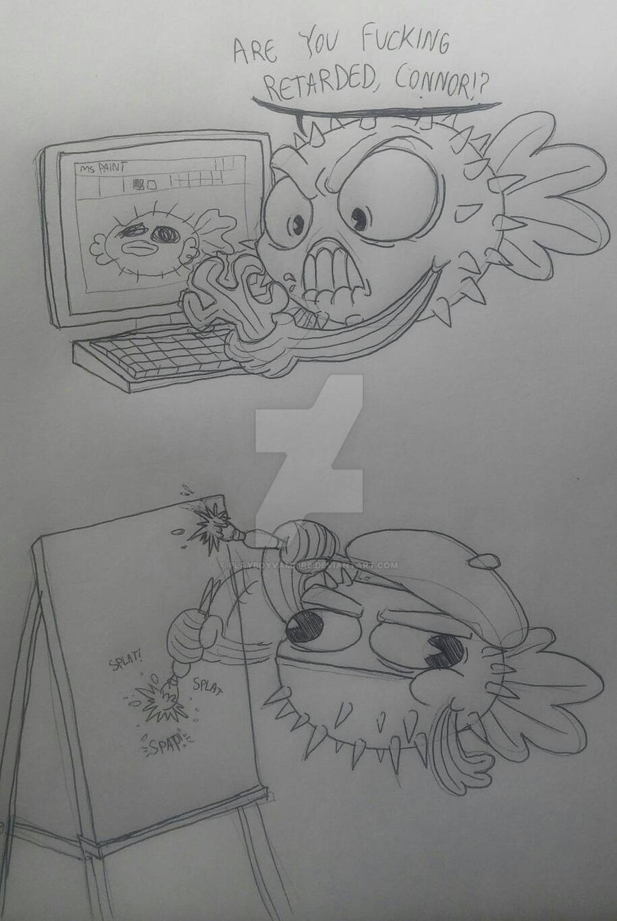 Pufferfish doing ARTZ! by PlayboyVampire