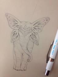 Butterfly elephant by LineBorowski