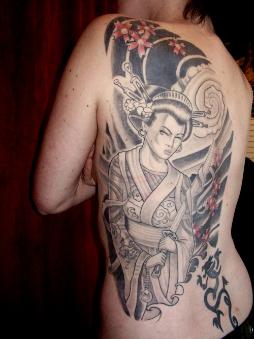 Back Piece Japanese Geisha Tattoos Picture 5
