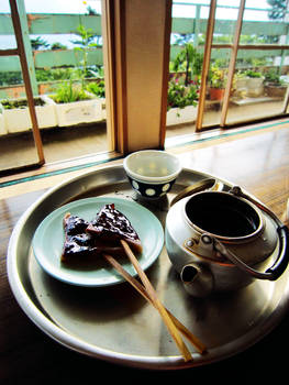At a tea house near the shrine
