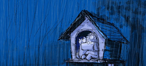 Rainy night by nekomeandon