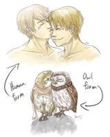 Owl kiss by GhostoftheCarousel
