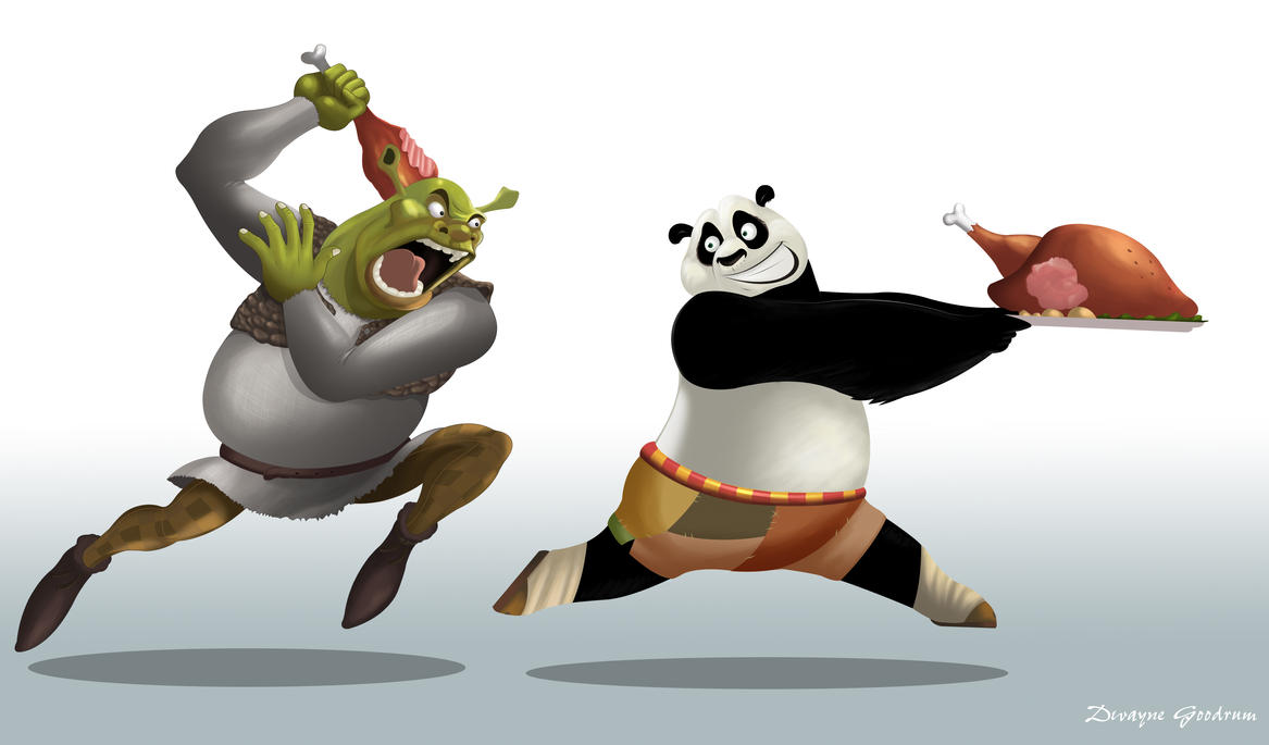 Shrek and Po (Kung Fu Panda) by MightyGoodrum