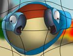 Blu, Jewel and volleyball