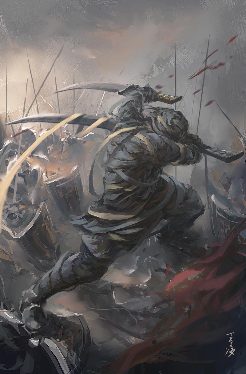 GhostBlade: Battle of Dark Mountain by wlop