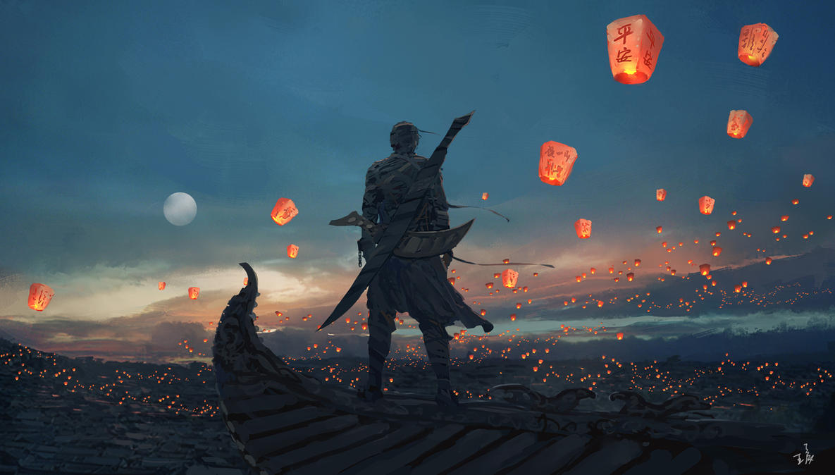 sky lanterns by wlop on deviantart