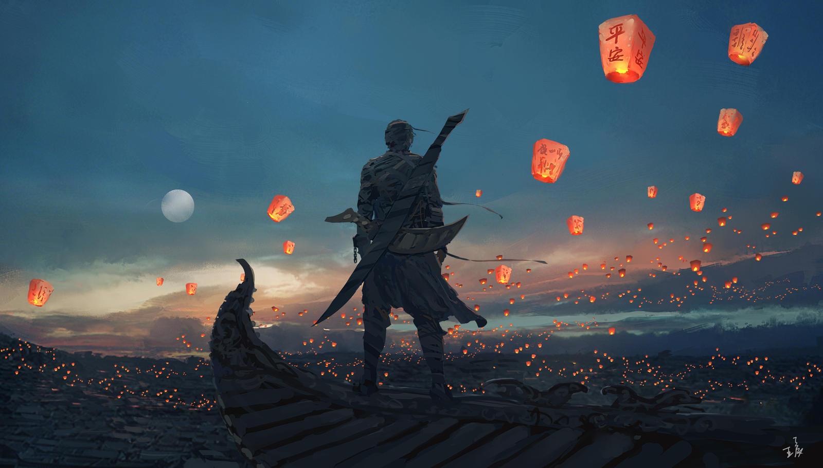 sky lanterns by wlop d7b5nfg