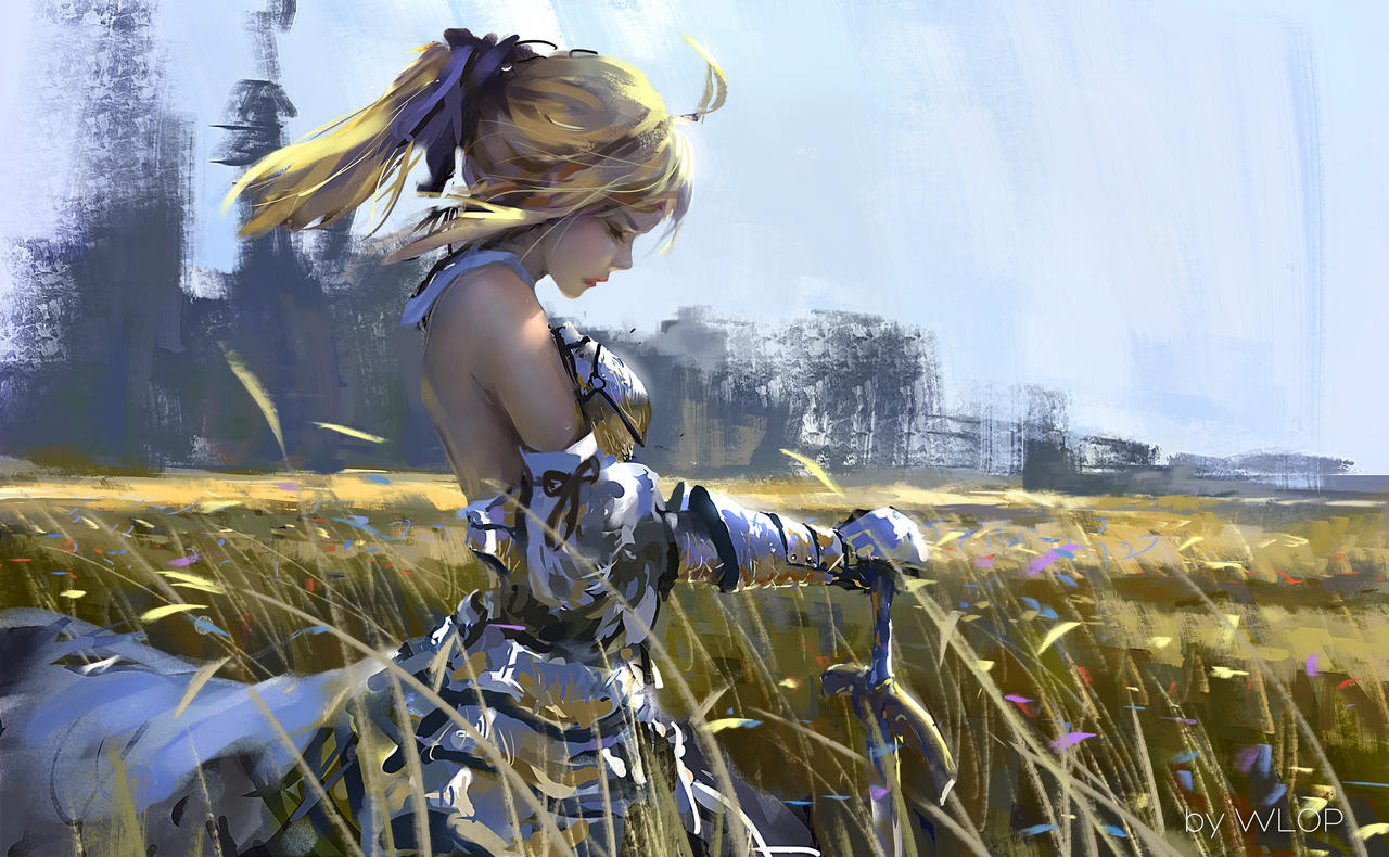 Fanart another amazing saber art by wlop anime for Deviantart wlop
