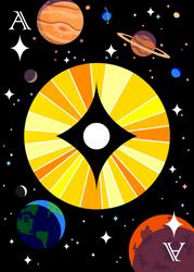 The Solar Diamond - Ace of Diamonds Card Design