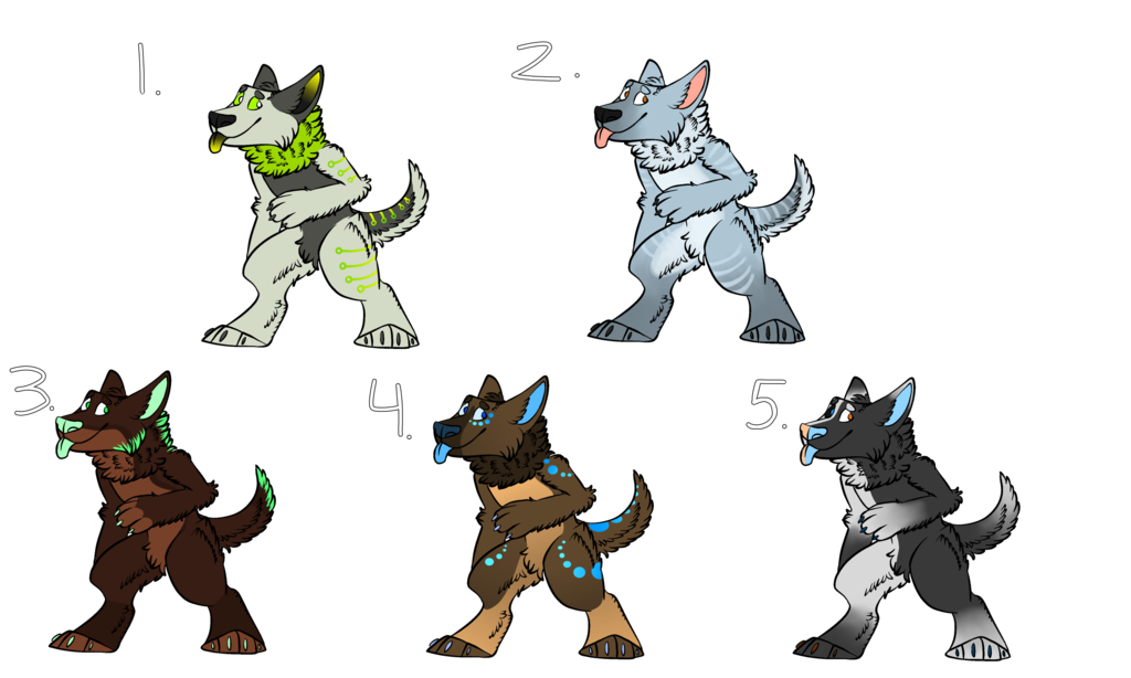 (REUPLOAD) $5/500 point Anthro Wolves (4/5 open!) by NE0-Adopts