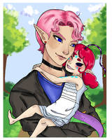 Little Des and Daddy Ranmaru by Pepperistia