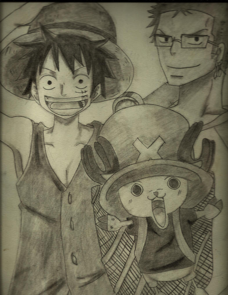 Luffy,Chopper and Zoro Sketch by l0lStephxl0l