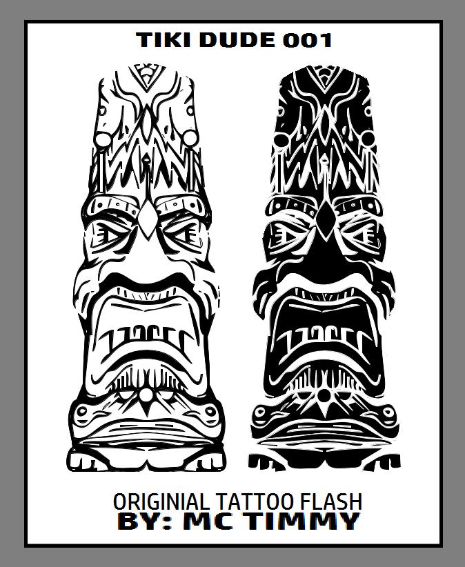 TIKI DUDE 001 ORIGINAL TATTOO FLASH by timmywheeler