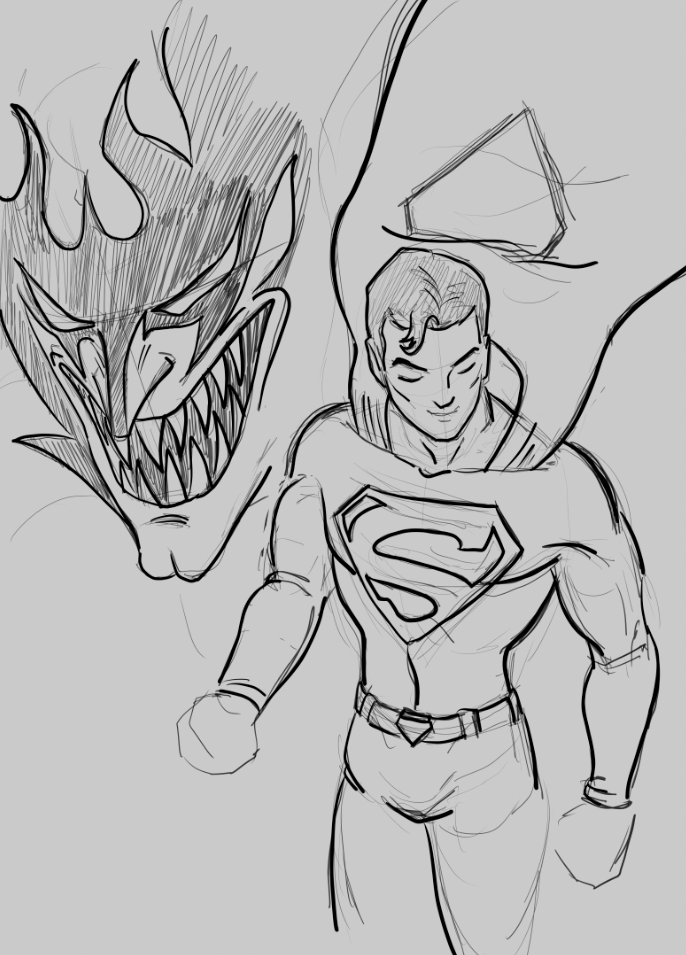 Devilman and Superman by Lutbarg