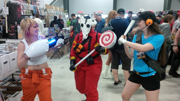 Chell, Pyro, and Scout